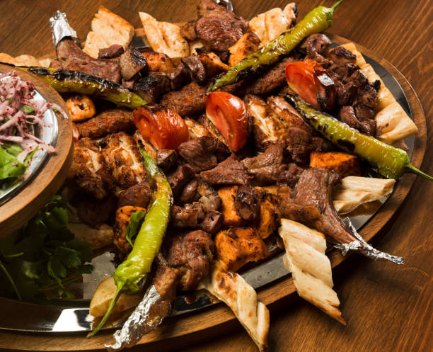 Mixed Kebab on wooden table