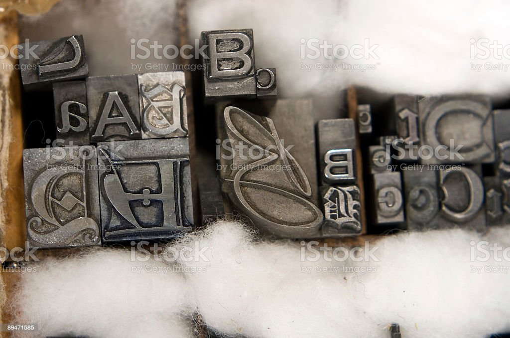 Mixed Letterpress Type Blocks stock photo
