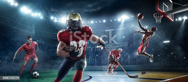 Composition of american football player, footballer, ice hockey player and basketball player.