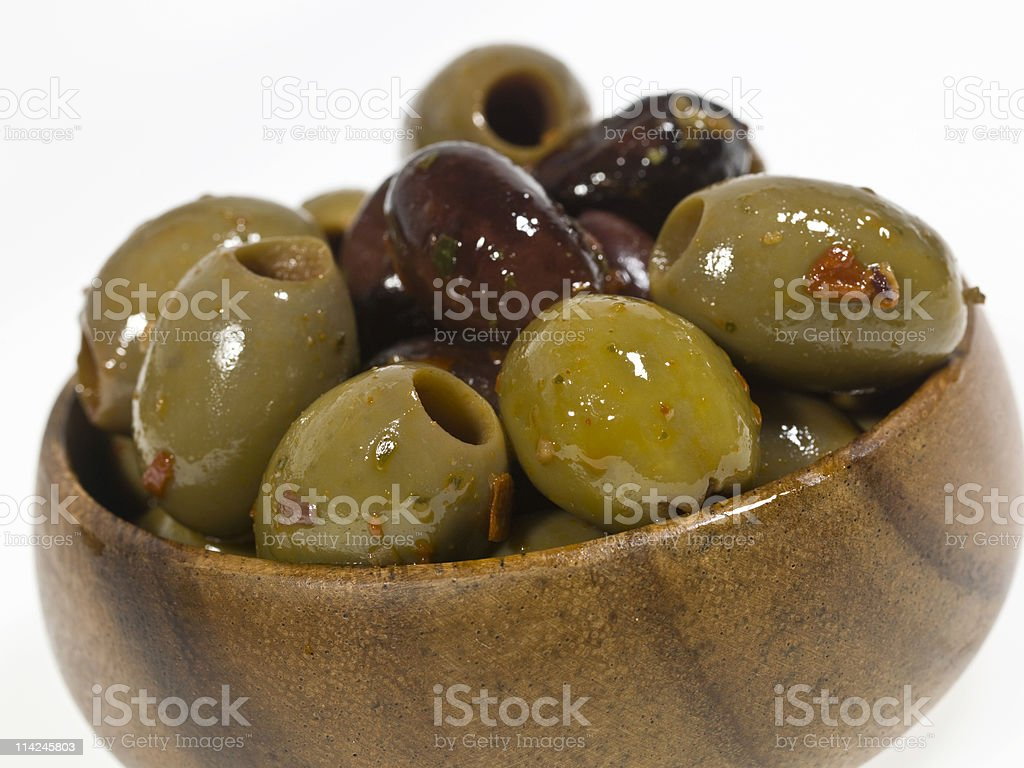 Mixed Marinated Pitted Olives royalty-free stock photo