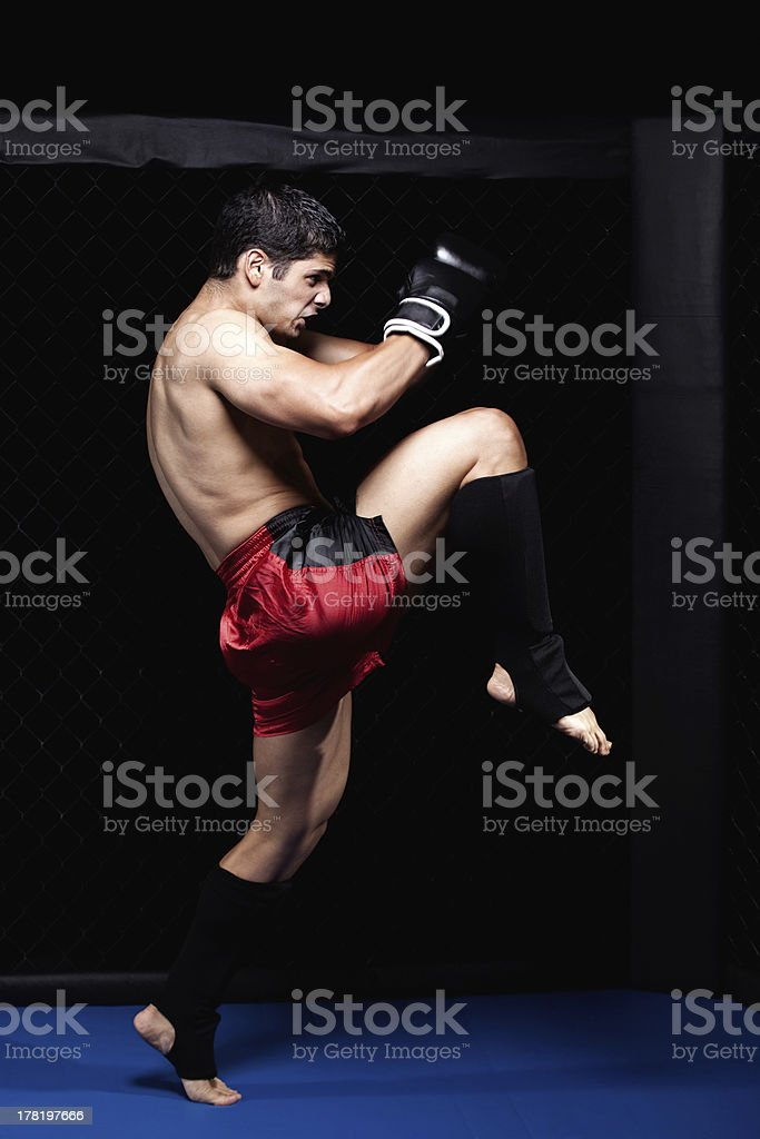 Mixed martial artist before a fight royalty-free stock photo