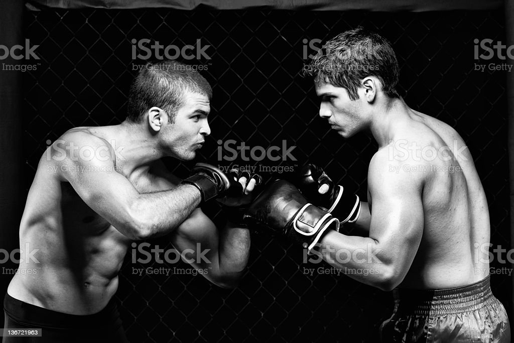 MMA - Mixed martial artists before a fight stock photo