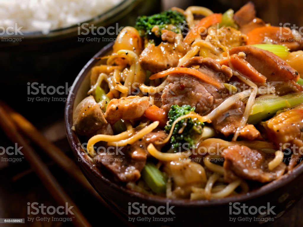 Mixed Meat, Seafood and Vegetable Stir Fry stock photo