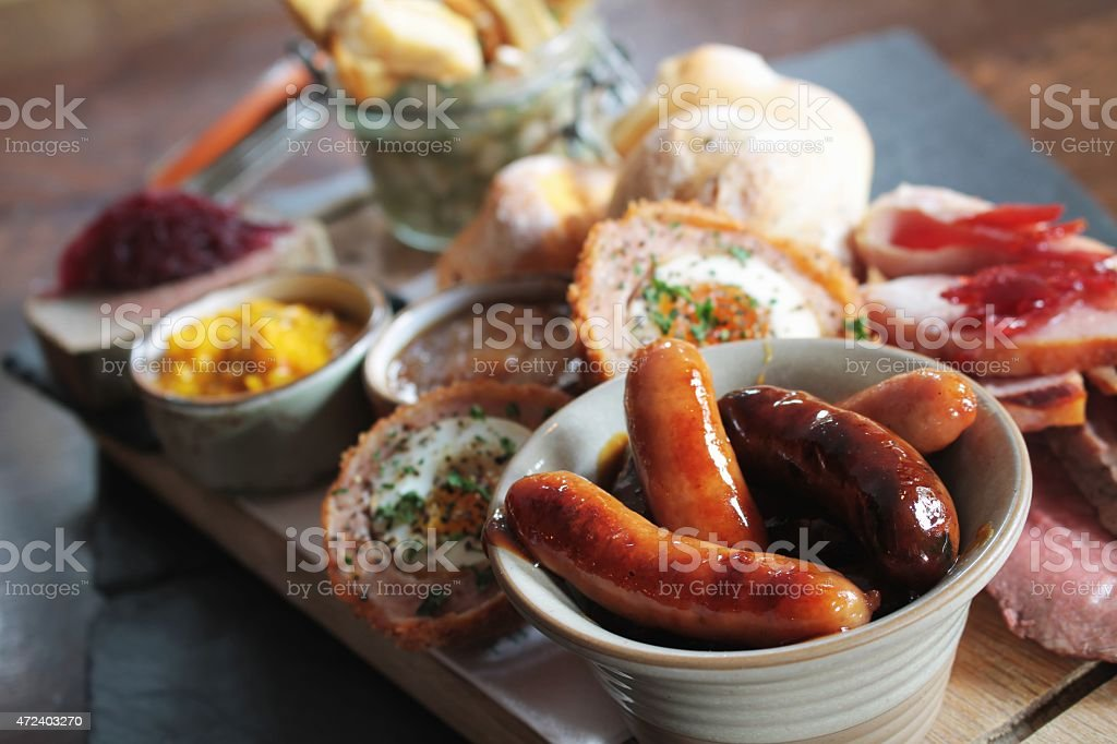 mixed meat sharing platter stock photo