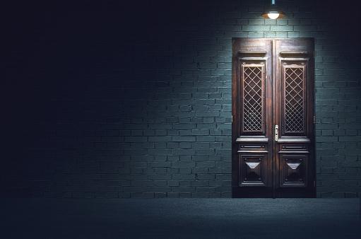 Mixed media illustration of dark evening street.