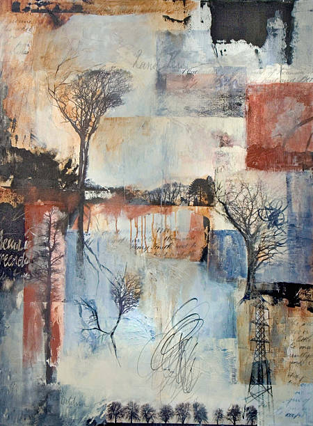 Mixed media layered painting with trees stock photo