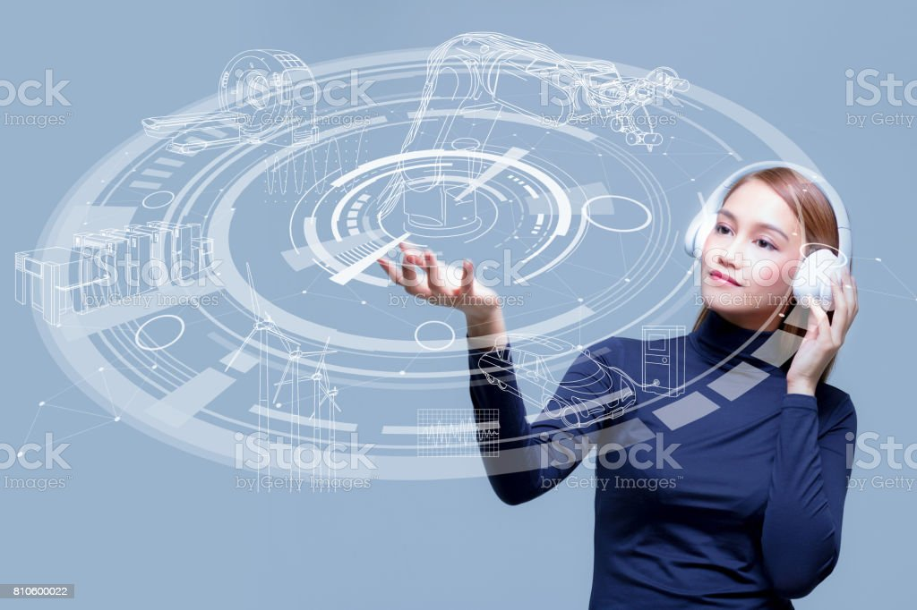 mixed media of a young woman and industrial technology concept stock photo