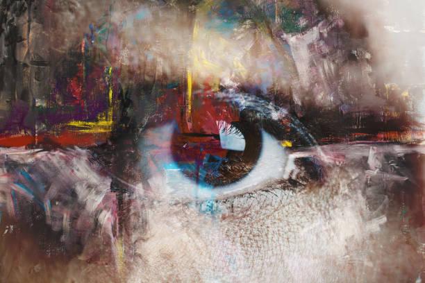 抽象繪畫與眼睛的混合介質 - 畫畫 動態活動 個照片及圖片檔