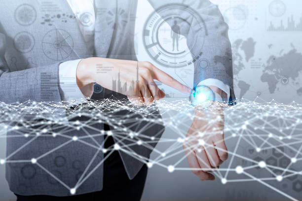 mixed media of smart watch and information technology concept IoT(Internet of Things), ICT(Information Communication Technology), digital transformation, abstract image visual stock photo