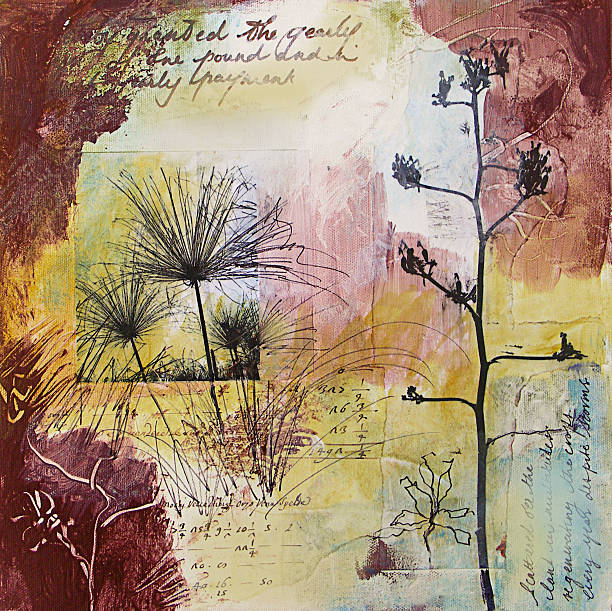Mixed media painting with seed heads in Fall stock photo