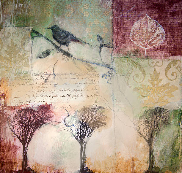 Mixed media painting with winter trees and bird stock photo