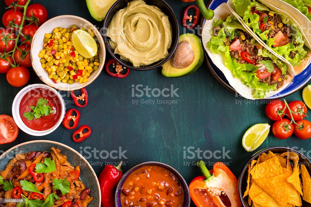 Mixed mexican food background ストックフォト