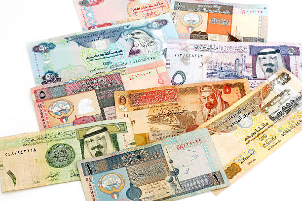 mixed middle eastern currency - kuwait currency stock photos and pictures