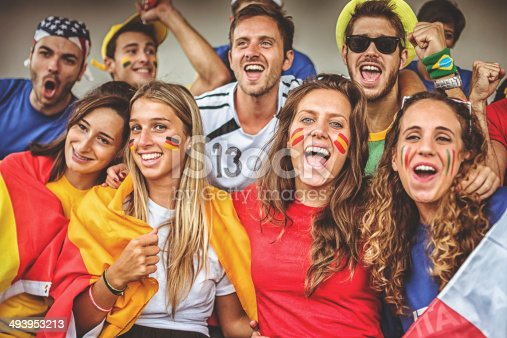 537894724 istock photo mixed national world supporter at the soccer stadium 493953213
