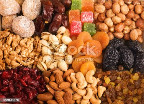 Various kinds of nuts and dried fruits.