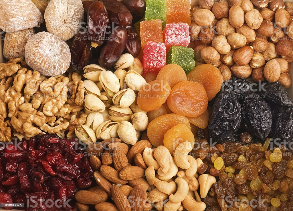 Mixed nuts and dried fruits. stock photo