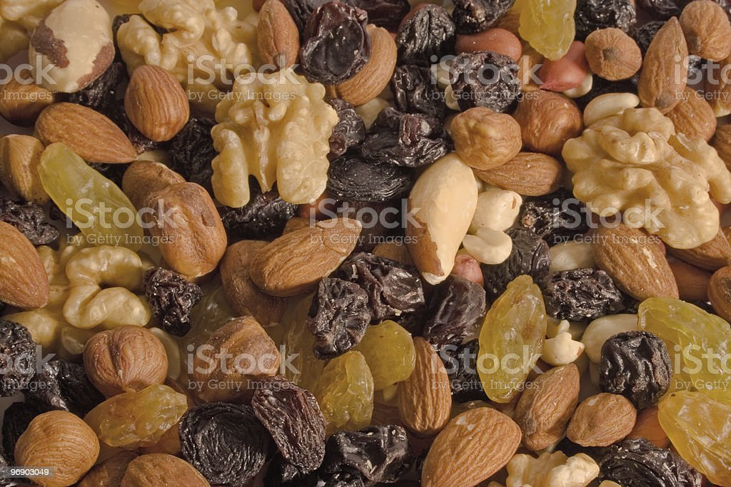 Mixed Nuts and Raisins background royalty-free stock photo