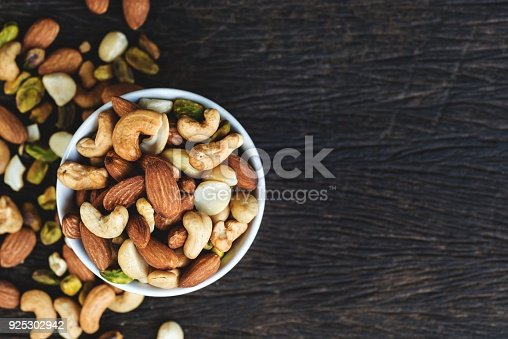 Healthy food and snack : mixed nuts in white ceramic bowl from above,  Walnut, pistachios, almonds, hazelnuts and cashews.