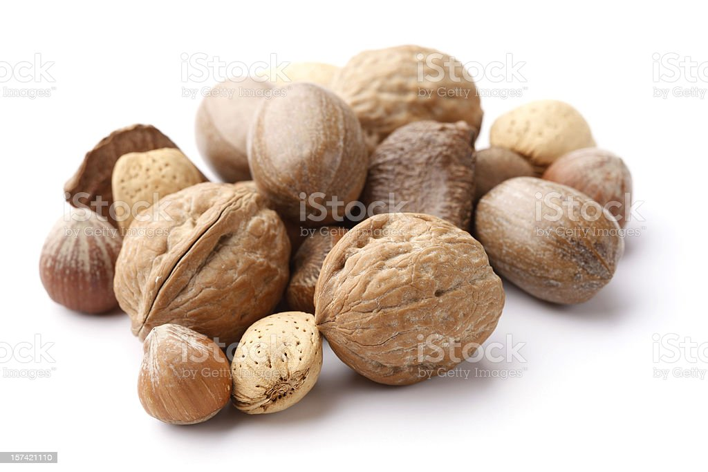 Mixed Nuts in the Shell stock photo