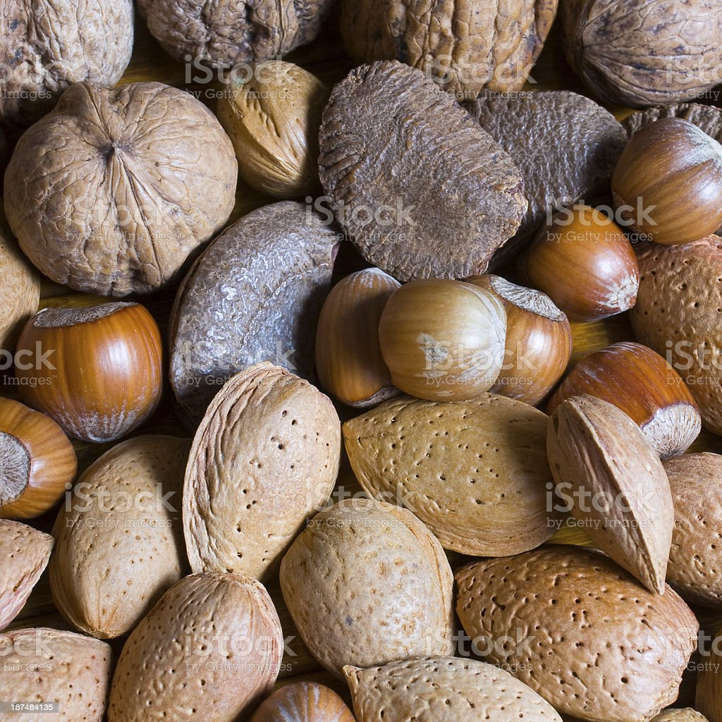 Mixed nuts in the shell selection of Brazil royalty-free stock photo