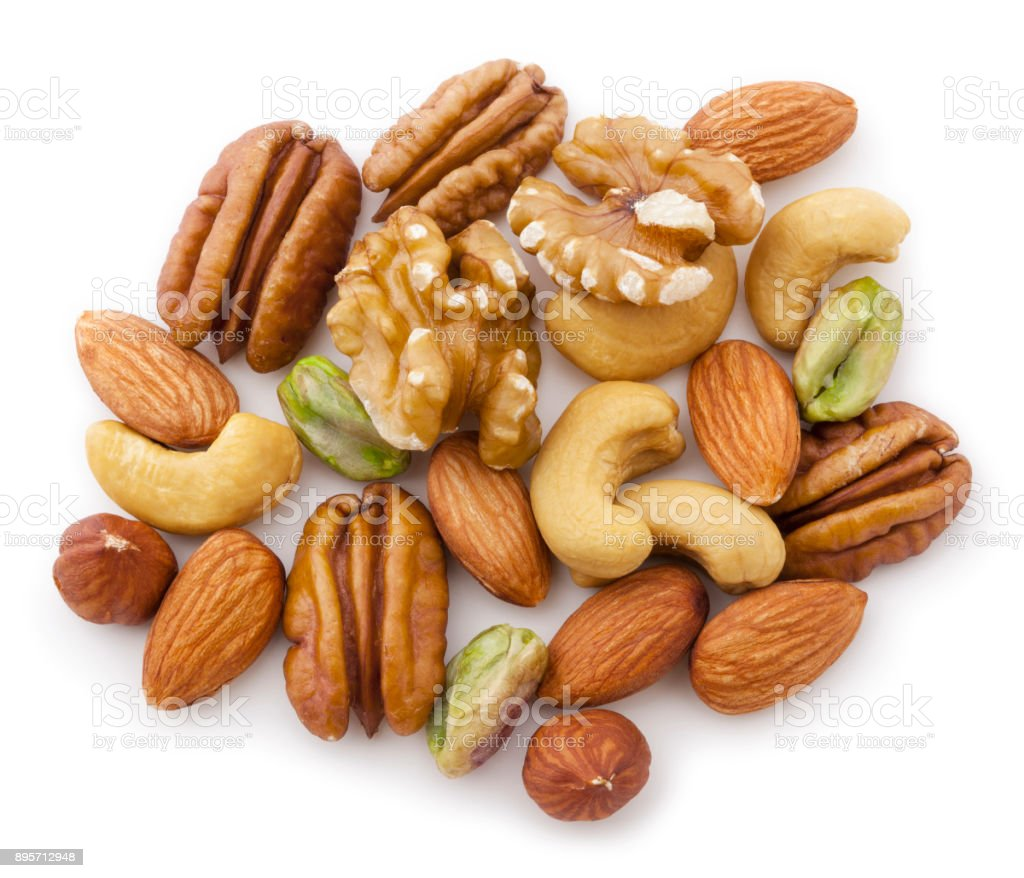 Mixed Nuts on White stock photo