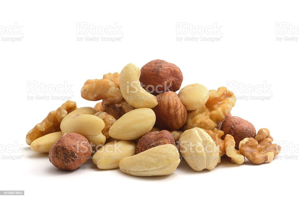 Mixed nuts shelled stock photo