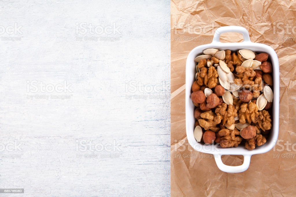 Mixed Nuts View From Above Of Different Types Walnut