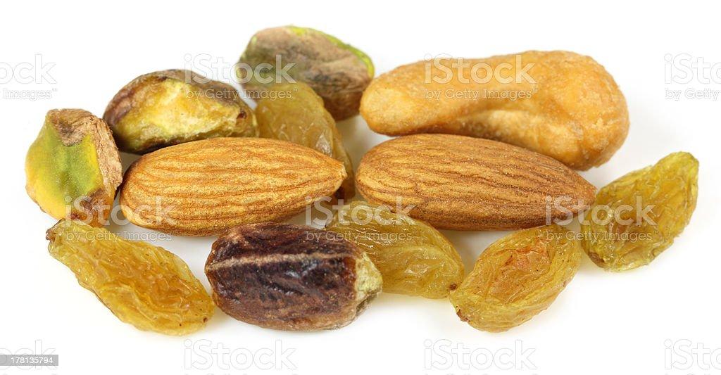 Mixed nuts with raisin royalty-free stock photo