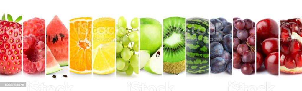 Gemischte Farbe Früchte. Collage von frischen reifen Früchten – Foto