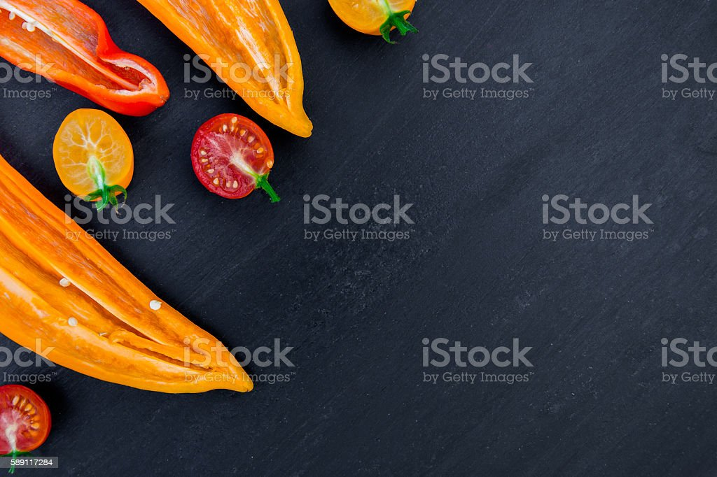 Mixed of red and yellow pepper with near cherry tomato stock photo