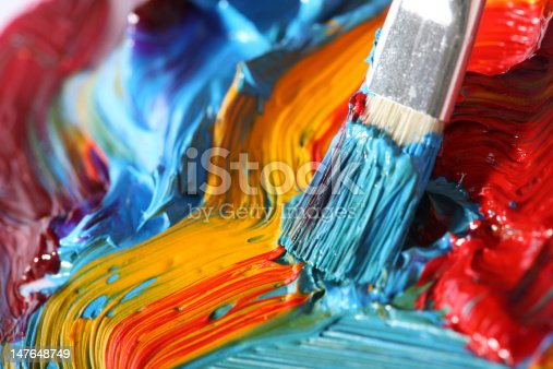 istock mixed oil paint with paintbrush 147648749