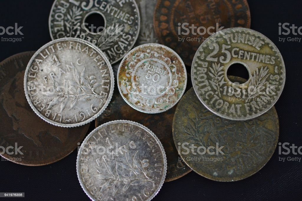 Mixed old coins stock photo