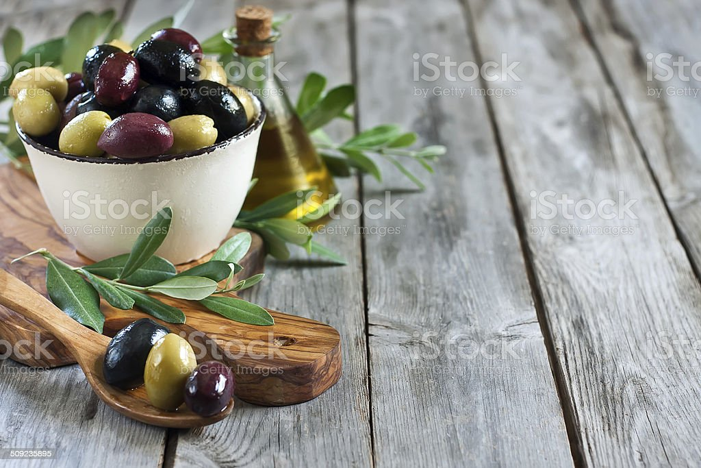 Mixed olives background stock photo