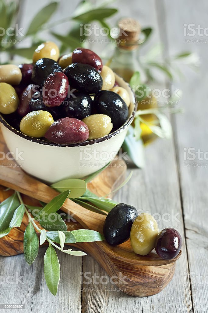 Mixed olives stock photo