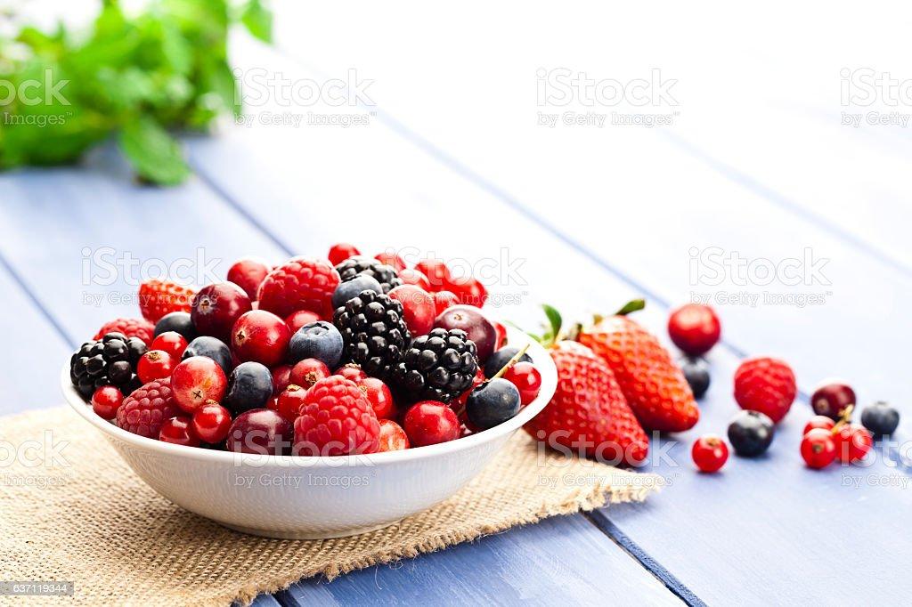 Mixed organic berries stock photo