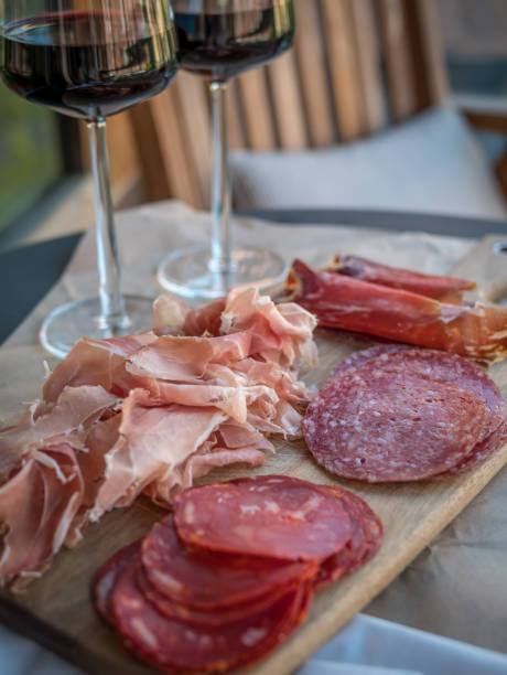 Mixed plate of charcuterie stock photo