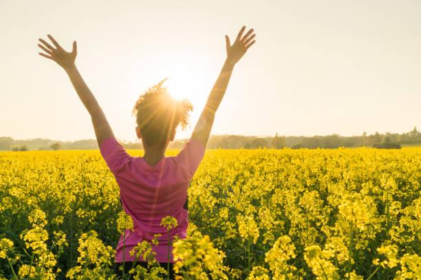 gemischte rassen afroamerikanische mädchen weibliche junge frau sportler läufer teenager im goldenen sonnenauf- oder sonnenuntergang arme angehoben feiern im bereich der gelben blüten - arme hoch stock-fotos und bilder
