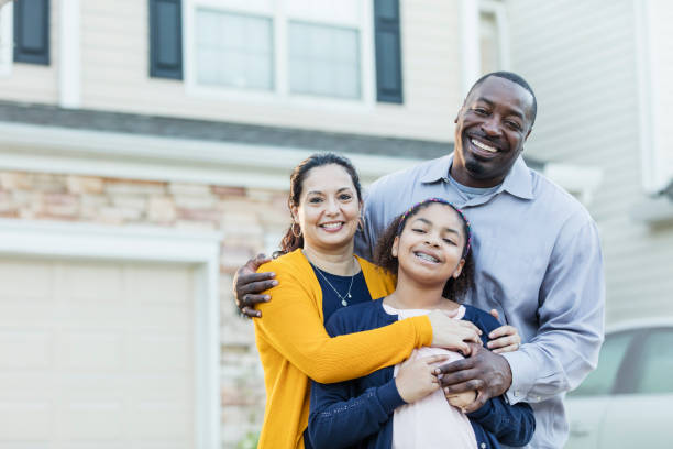 Mixed race African-American and Hispanic family stock photo