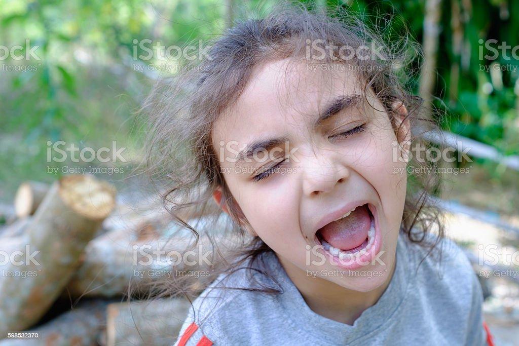 mixed race asian caucasian girl photo libre de droits