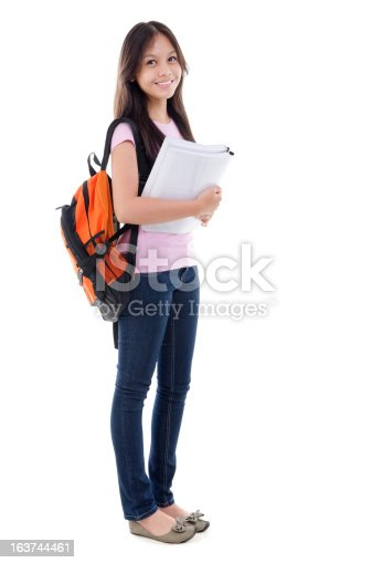 istock Mixed race Asian teen student 163744461