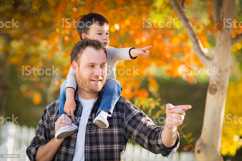 Mixed Race Boy Riding Piggyback on Shoulders of Caucasian Father stock photo