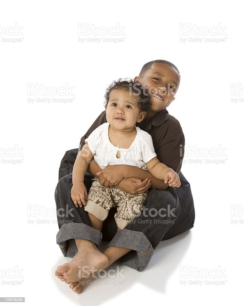 Mixed Race Brother and Sister stock photo