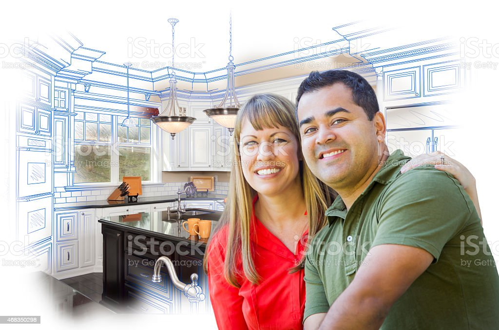 Mixed Race Couple Over Kitchen Design Drawing and Photo royalty-free stock photo