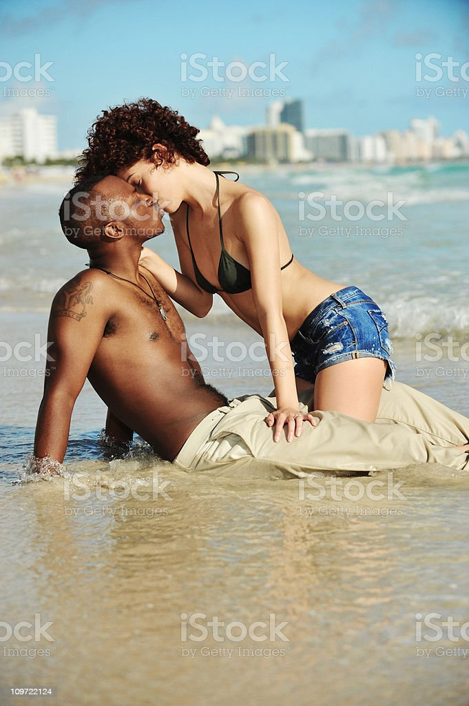 Mixed Race Couple Sexy on South Miami Beach royalty-free stock photo