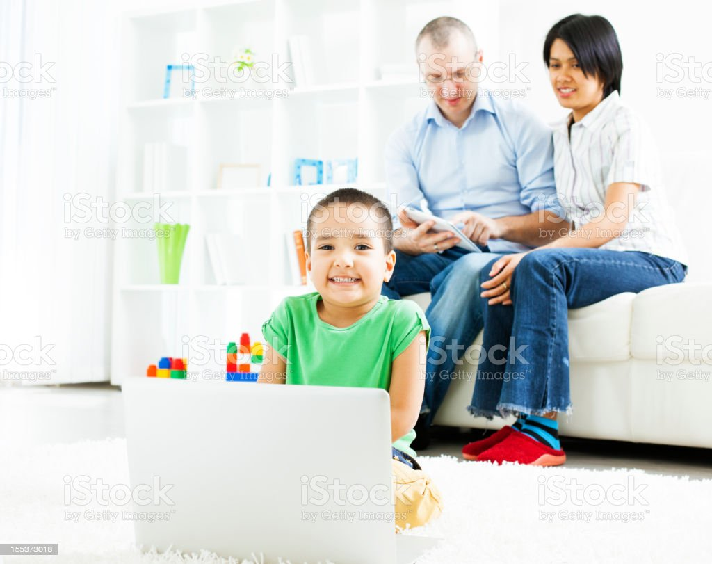Mixed Race Family having fun at home. royalty-free stock photo