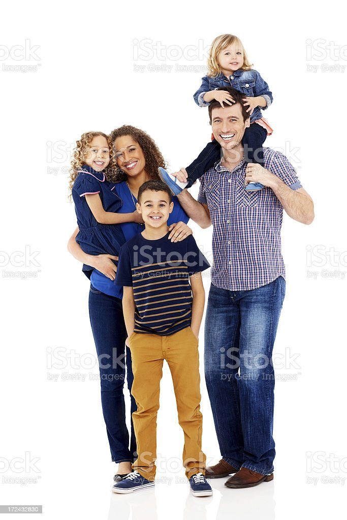 Mixed race family of five smiling together on white Portrait of mixed race family of five smiling together on white background Adult Stock Photo