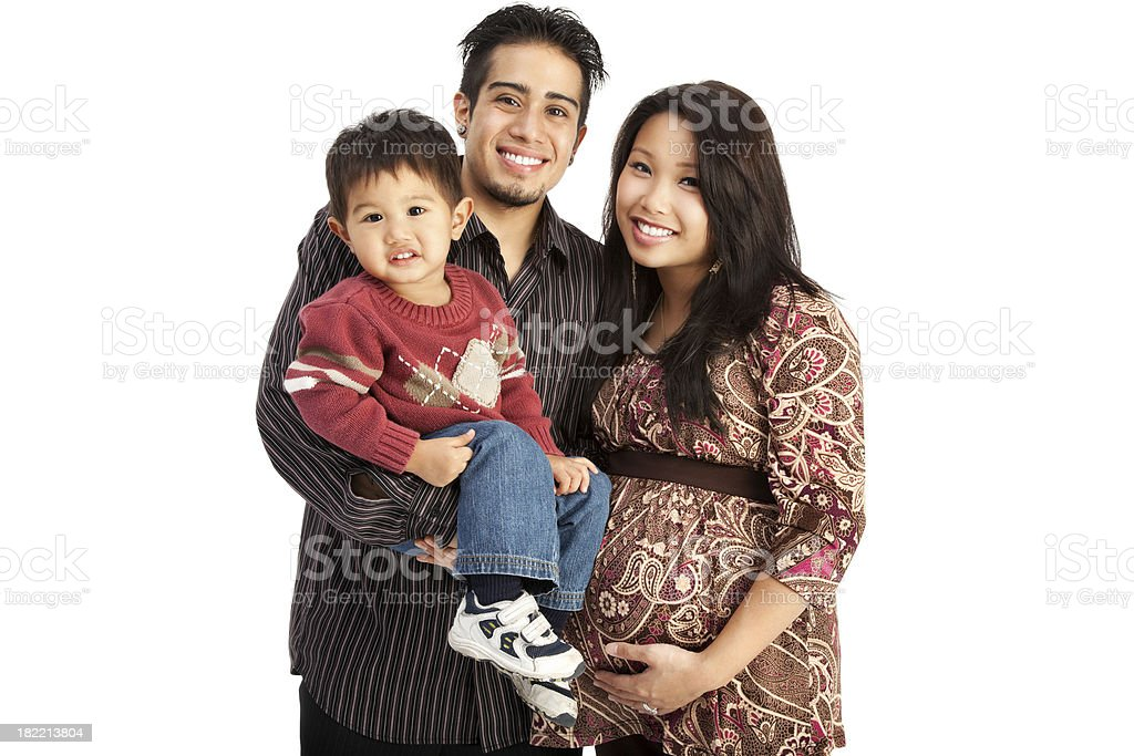 Mixed Race Family of Three on White stock photo