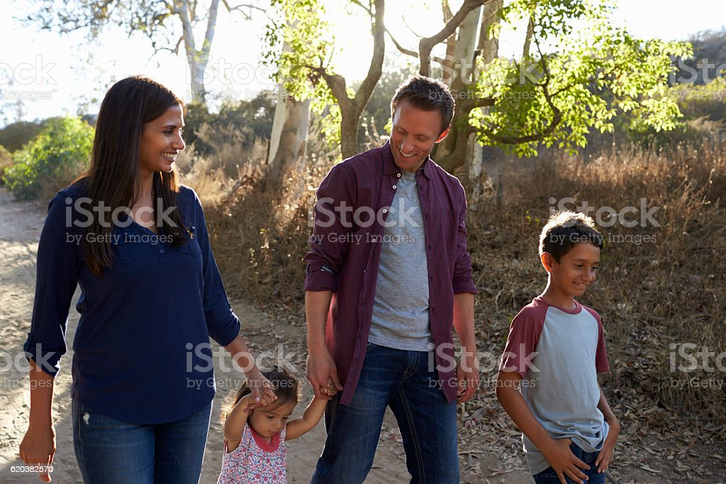 Mixed race family walking on rural path, backlit front view stock photo