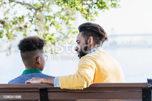 istock Mixed race father and teenage son city on waterfront 1036341598
