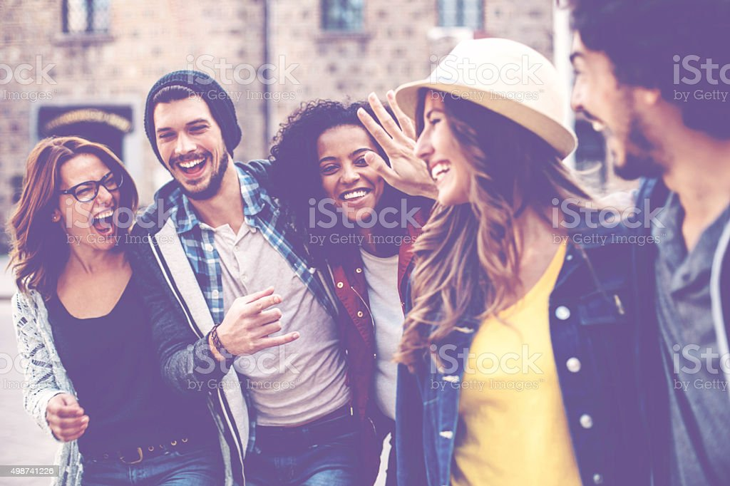 Mixed race friends stock photo